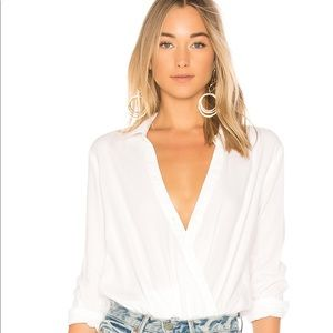 Bella Dahl White Crossover Bodysuit XS